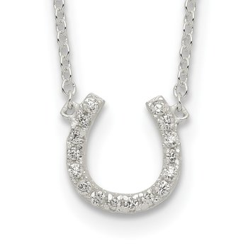 Sterling Silver Polished CZ Horseshoe w/ 1 inch ext Necklace