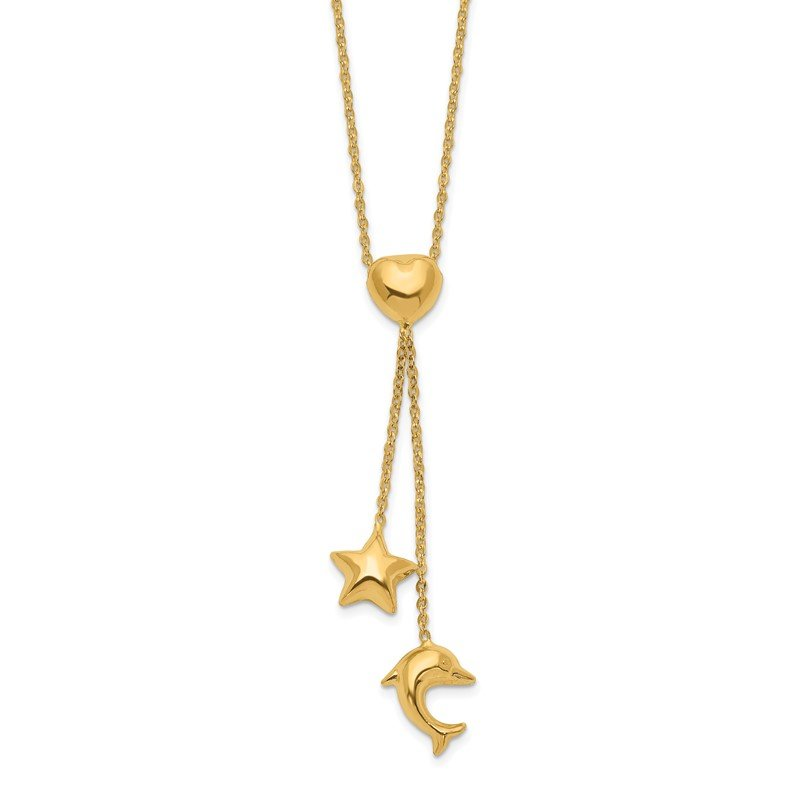 Quality Gold 14k Heart, Star & Dolphin Y-Necklace