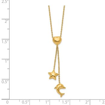 14k Heart, Star & Dolphin Y-Necklace