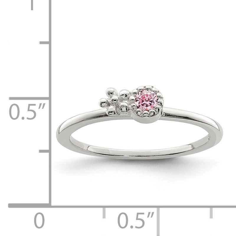 Quality Gold Sterling Silver Pink CZ Flower Kid's Ring