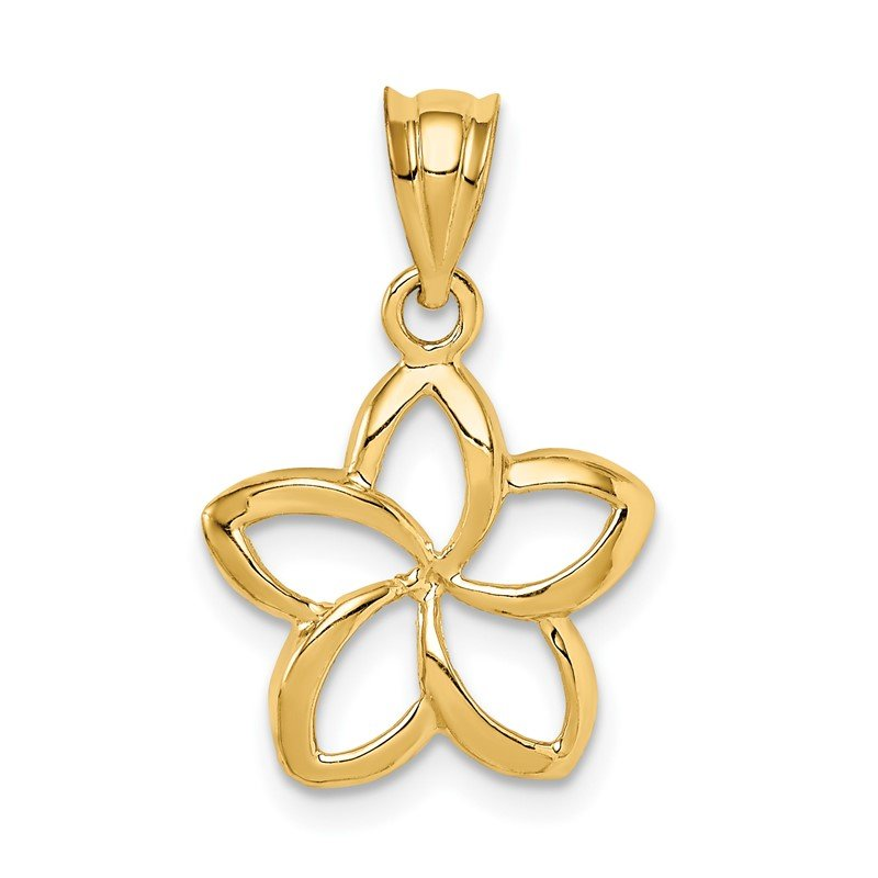 Quality Gold 14k Polished Small Cut-out Plumeria Pendant