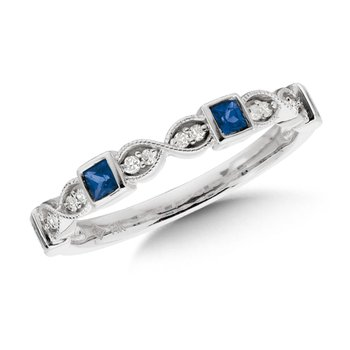 Stackable Sapphire and Diamond Ring in Milgrained 10k White Gold