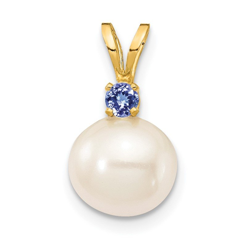Quality Gold 14K Tanzanite 8-8.5mm White Round FWC Pearl Pendant