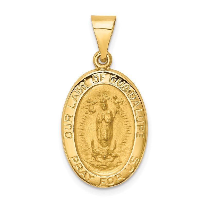 Quality Gold 14k Polished and Satin Our Lady Guadalupe Medal Hollow Pendant
