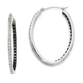 14k White Gold Diamond Fascination B & W Diamond Oval Hinged Hoop Earrings
