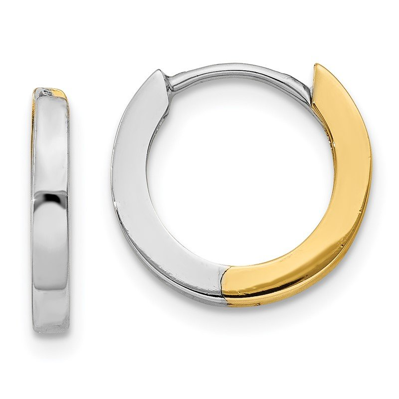 Quality Gold 14k Two-tone 2mm Round Hinged Hoop Earrings
