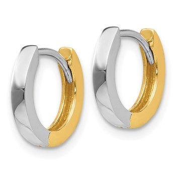 14k Two-tone 2mm Round Hinged Hoop Earrings