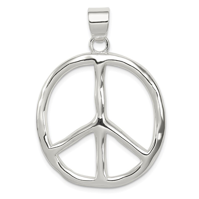 Quality Gold Sterling Silver Polished Peace Pendant