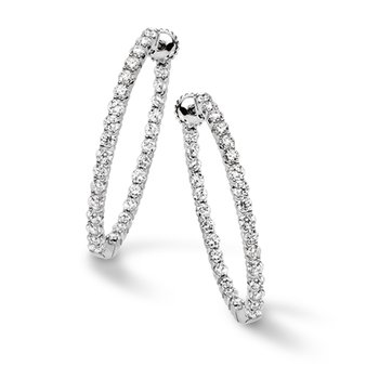Pave set Diamond Oval Reflection Hoops in 14k White Gold (1 1/2 ct. tw.) GH/SI1-SI2