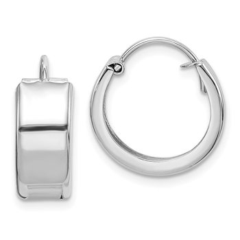 Sterling Silver Rhodium-plated 6x16mm Hoop Earrings