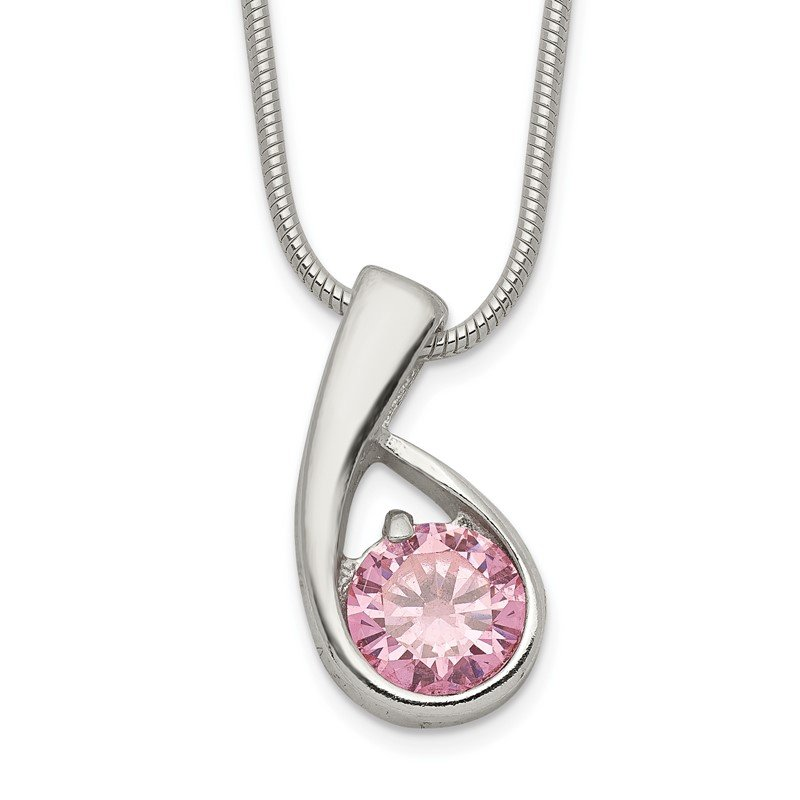 Quality Gold Sterling Silver Pink CZ Necklace