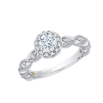 Promezza 14K White Gold Round Diamond Floral Halo Engagement Ring