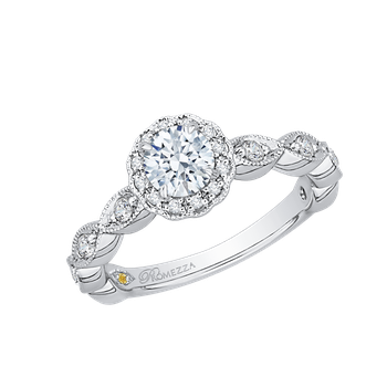 14K White Gold Round Diamond Floral Halo Engagement Ring