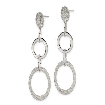 Sterling Silver Polished Textured Circle / Oval Dangle Post Earrings