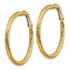 Quality Gold 14k 3x30mm Diamond-cut Round Omega Back Hoop Earrings