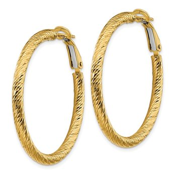 14k 3x30mm Diamond-cut Round Omega Back Hoop Earrings