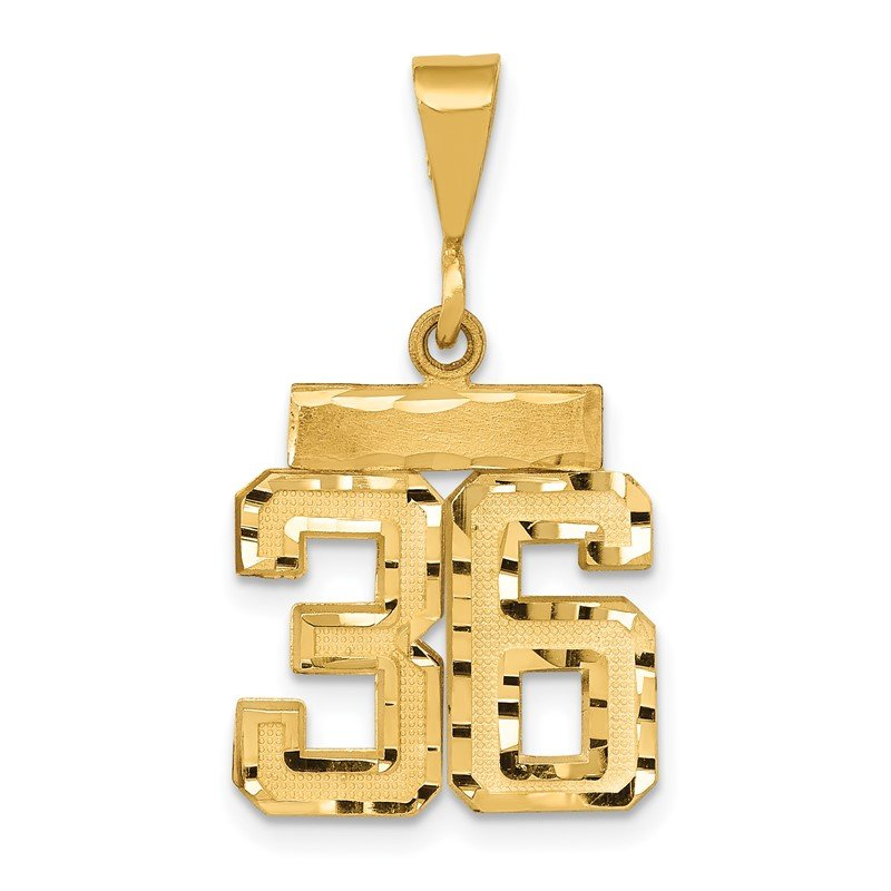 Quality Gold 14k Small Diamond-cut Number 36 Charm