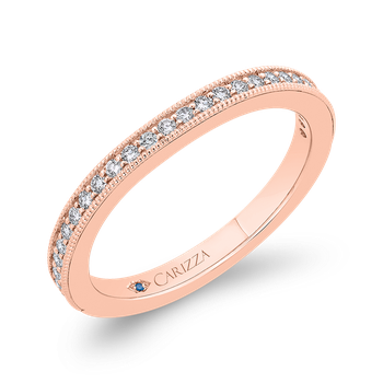 18K Rose Gold Round Diamond Wedding Band