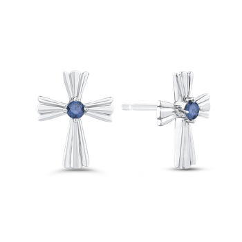 10K White Gold 1/10 Ct Blue Diamond Fashion Earrings