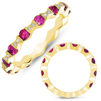 Yellow Gold Ruby & Diamond Band
