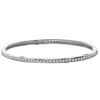 Diamond Hinged Oversized Bangle in 14k White Gold with 89 Diamonds weighing 1.55ct tw.