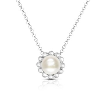 Silver Pearl with Bead Halo Necklace