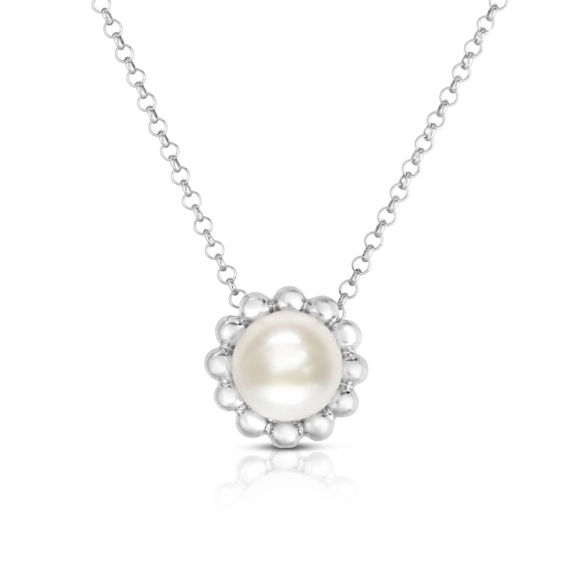 Royal Chain Silver Pearl with Bead Halo Necklace