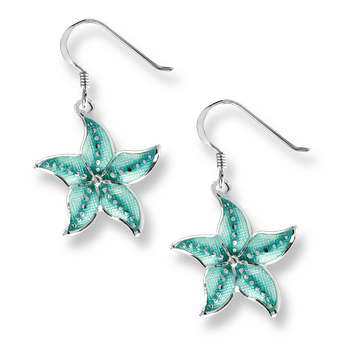 Sterling Silver Starfish Wire Earrings -Green .