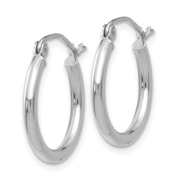 10K White Gold Polished 2mm Tube Hoop Earrings