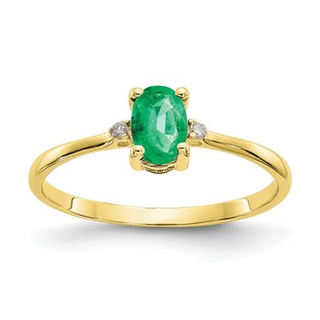 10k Polished Geniune Diamond & Emerald Birthstone Ring