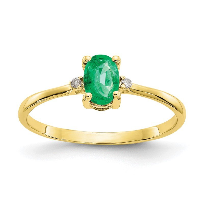 Quality Gold 10k Polished Geniune Diamond & Emerald Birthstone Ring