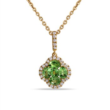 14K Tsavorite and  Diamond Pendant . 29 Diamonds  0.17CT ,5 Tsavorites  0.93CT