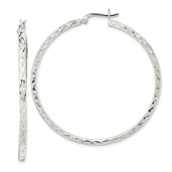 Sterling Silver Fancy Diamond-cut 2mm Hoop Earrings