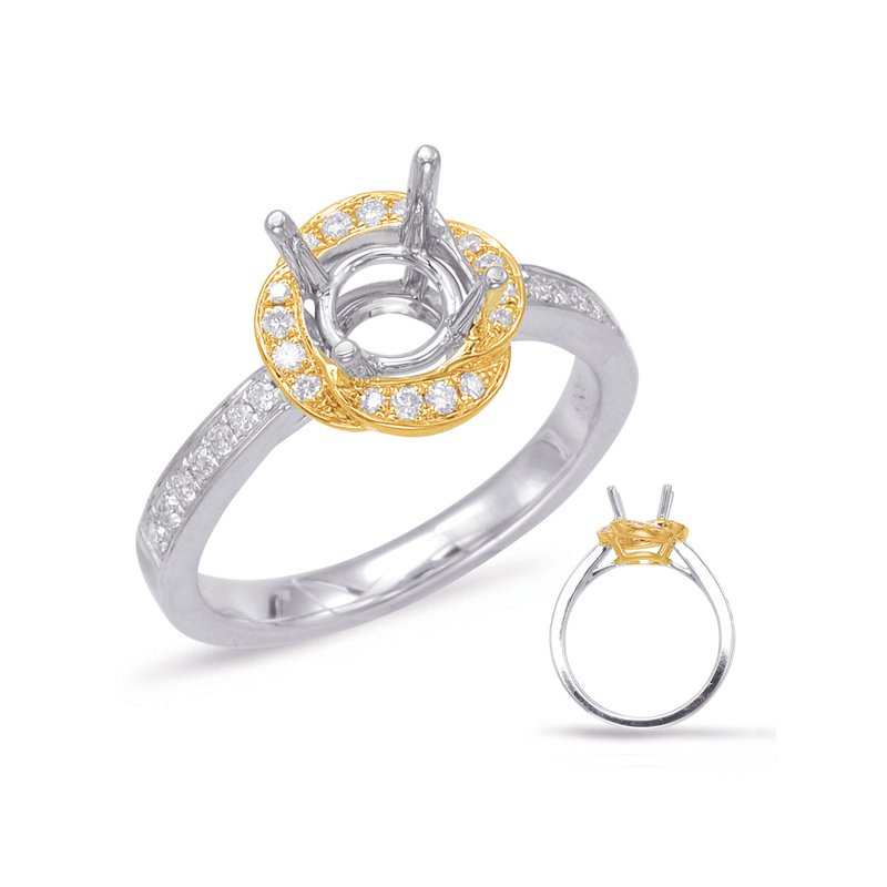 MAZZARESE Bridal Yellow & White Gold Halo Engagement Ring