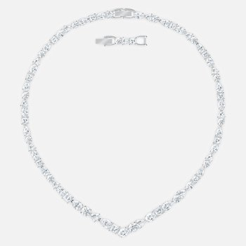 Tennis Deluxe  Mixed V Necklace, White, Rhodium plated