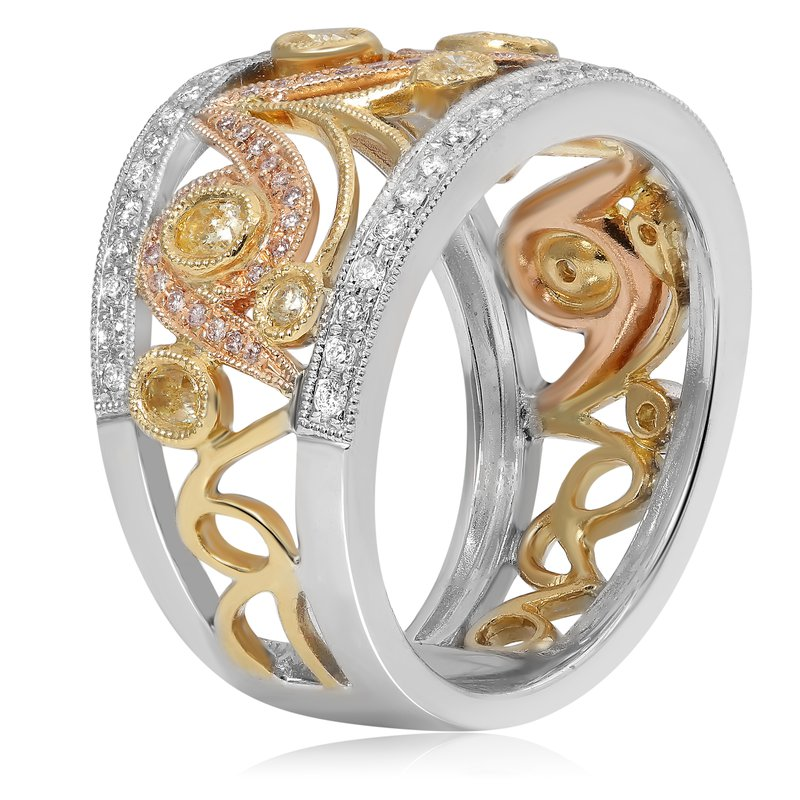 Roman & Jules Tri-Colored Abstract Diamond Ring