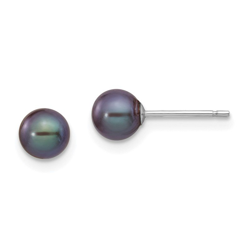 Quality Gold 14k White Gold 5-6mm Black Round FW Cultured Pearl Stud Post Earrings
