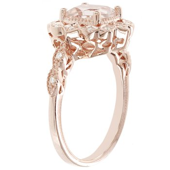 14kt Rose Gold 1 1/2ct Morganite Center, .08ct Diamond Ring