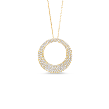 18Kt Gold Large Circle Pendant With Diamonds