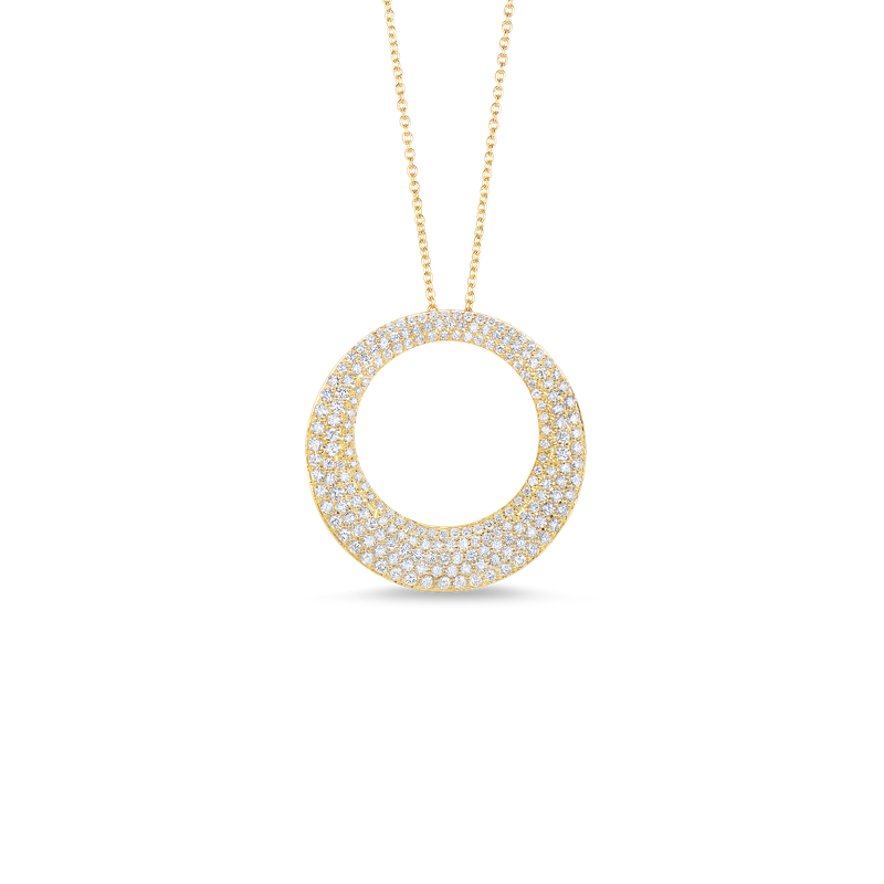 Roberto Coin 18Kt Gold Large Circle Pendant With Diamonds