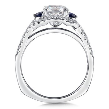 Diamond and Blue Sapphire Halo Engagement Ring Mounting in 14K White Gold (.32 ct. tw.)