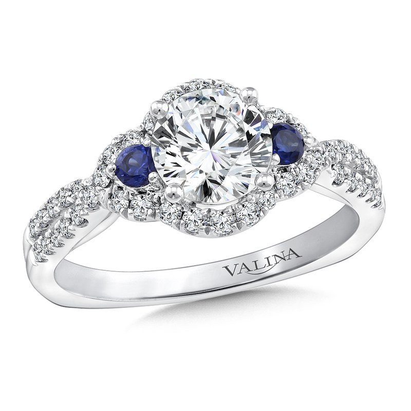 Valina Diamond and Blue Sapphire Halo Engagement Ring Mounting in 14K White Gold (.32 ct. tw.)