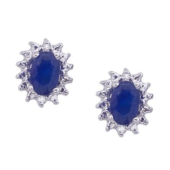 10k White Gold 6x4 mm Sapphire and Diamond Earrings