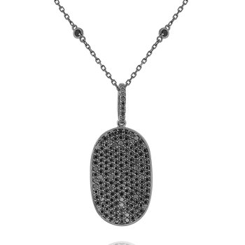 Black Diamond Dog Tag Necklace Set in 14 Kt. Gold