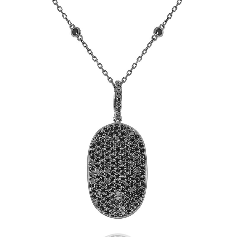 KC Designs Black Diamond Dog Tag Necklace Set in 14 Kt. Gold