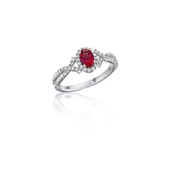 Swirls of Love Ruby and Diamond Twist Ring