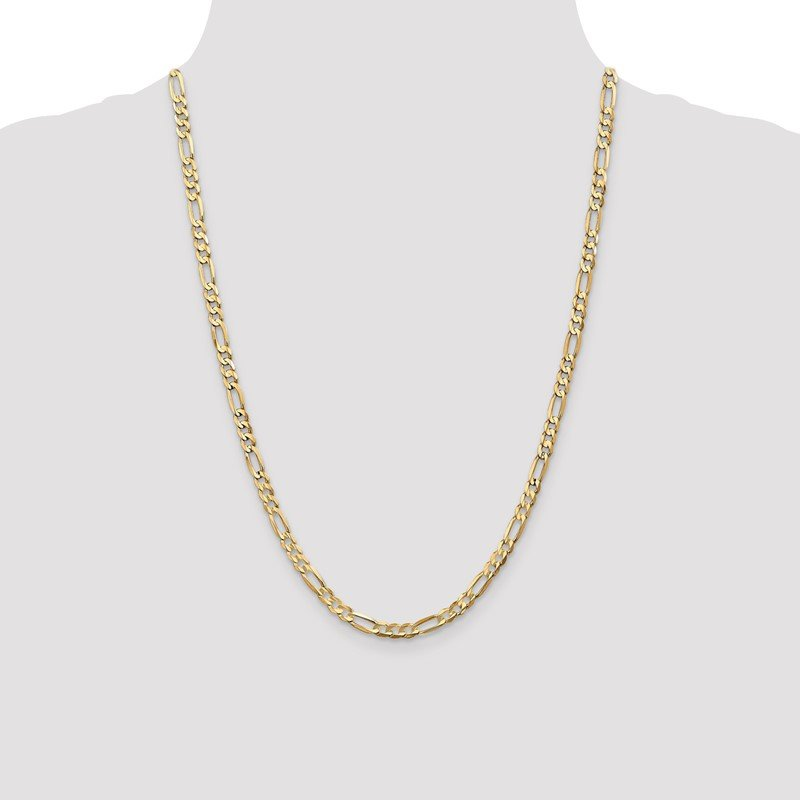 Quality Gold 10k 4.5mm Light Concave Figaro Chain