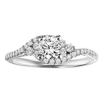 14K Diamond Engagement Ring 1/3 ctw with 5/8 ct Center