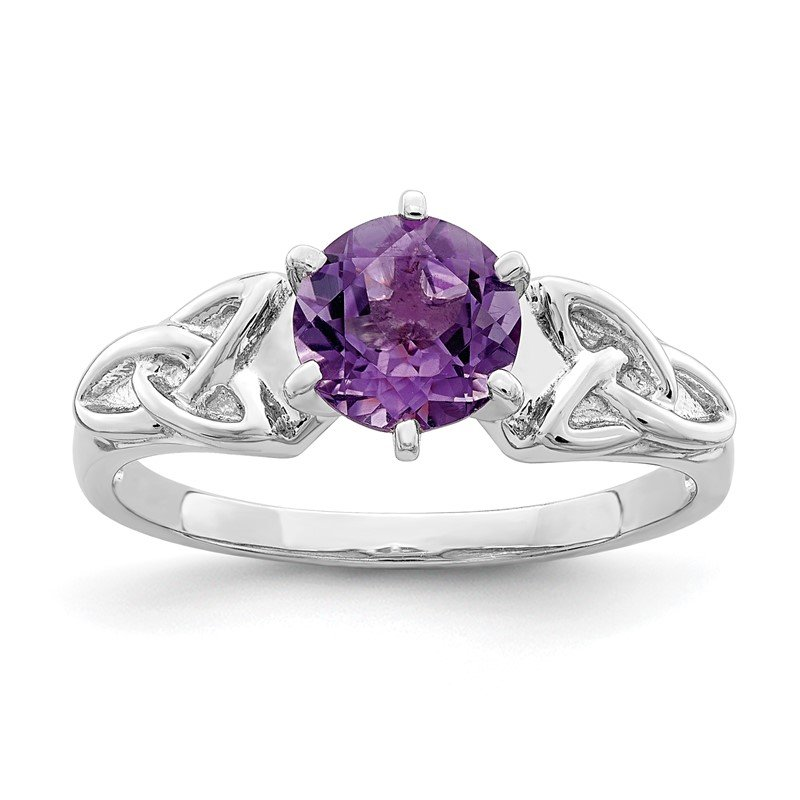 Quality Gold Sterling Silver Rhodium-plated Amethyst Celtic Trinity Ring