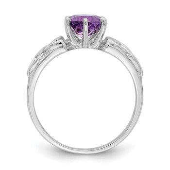 Sterling Silver Rhodium-plated Amethyst Celtic Trinity Ring